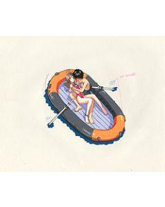 AMG-129 anime cel - Belldandy & Keiichi in Life raft OVA anime cel $129.99
