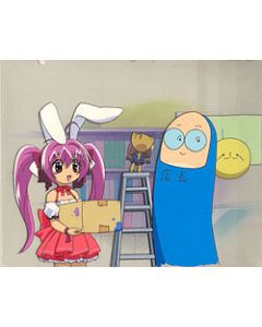 Digi-Charat60 Rabbi-en-Rose helps the manager at the GAMERS store With matching background - Digi-Charat anime cel $159