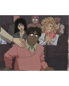 GoldenBoy62 Movie producer with Reiko & the lady president with matching color copy background - Golden Boy anime cel