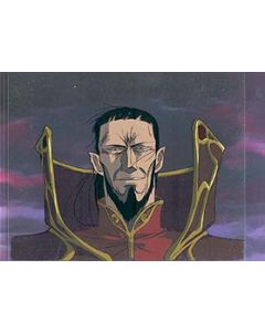 LodossOVA-17 - Lodoss War OVA anime cel (Evil Wizard Wagnard with MATCHING background)