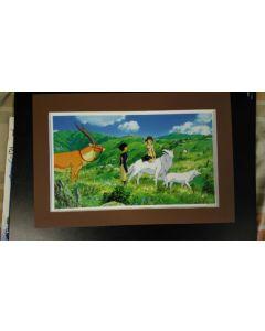 "Ghibli Print P-Mononoke - Licensed Ghibli print (27 x 42 cm) for "" Princess Mononoke"" from 2016 calender (Matte not included!!)"